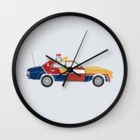 mad max Wall Clocks featuring Mad Max RockaStarsky by Brandon Ortwein