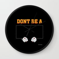 mia wallace Wall Clocks featuring Don't Be a Square / Mia Wallace by Woah Jonny