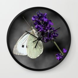 Cabbage butterfly on lavender, monochromatic bokeh background Wall Clock