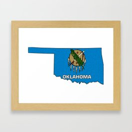 Oklahoma Map with State Flag Framed Art Print
