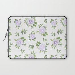 Botanical lavender white green watercolor floral Laptop Sleeve
