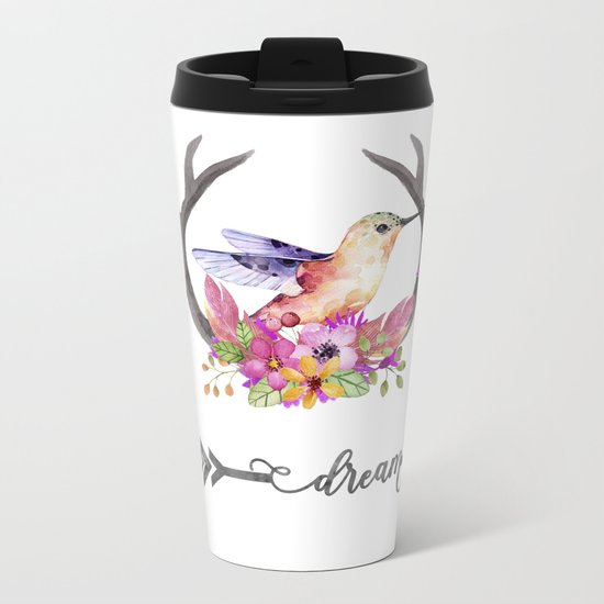 Hummingbird on floral Antlers and Dream arrow Metal Travel Mug