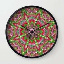 Red and Green Mandala Painting Wall Clock