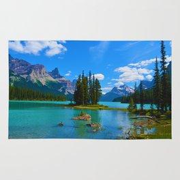 Spirit Island on Maligne Lake in Jasper National Park, Canada Rug