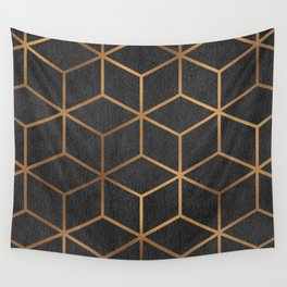 Charcoal and Gold - Geometric Textured Cube Design I Wall Tapestry