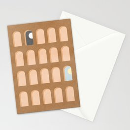 Scandinavian home decor arch windows night and day Stationery Cards