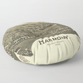 Aerial View of Harmony, Butler County, Pennsylvania (1901) Floor Pillow