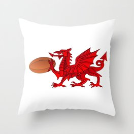 Welsh Dragon With a Rugby Ball Throw Pillow