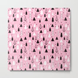 Pink Christmas Tree Forest Pattern Metal Print