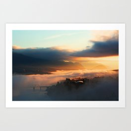 Foggy Morning in Kamloops Art Print