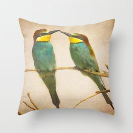 Love time. Bee-eaters Throw Pillow
