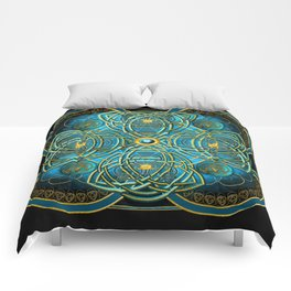 Celtic Cross Tapestry in Gold and Teal Comforters