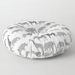 Safari animals minimal grey and white zebra giraffe cheetah hippo rhino nursery Floor Pillow