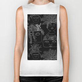 Illustrated Plant Faces in Black Biker Tank