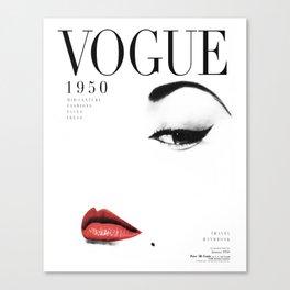 Fashion, Woman, Lips, Vogue, Model, Fashion art, Photo, Minimal Canvas Print