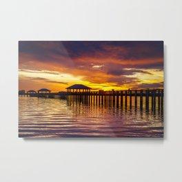 Gulf Coast Sunset over Biloxi Bay Metal Print