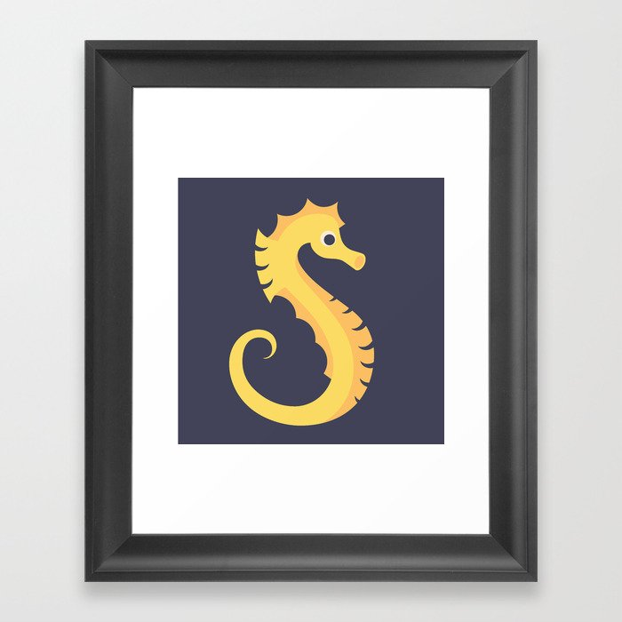 Letter S // Animal Alphabet // Seahorse Monogram Framed Art Print