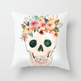 PRETTY OUTLAW Flower Crown Skull Throw Pillow
