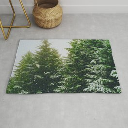 Winter Pine Tree Forest (Color) Rug