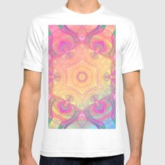Psychedelic Kaleidoscope MEDIUM Mens Fitted Tee White