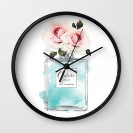 Perfume, watercolor, perfume bottle, with flowers, Teal, Silver, peonies, Fashion illustration, Wall Clock
