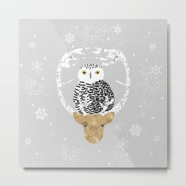 Snowy Owl and Friend Metal Print