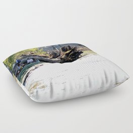 Family Picnic At The Factory Floor Pillow