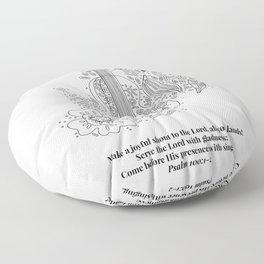 Psalm 100:1-2 Make a Joyful Shout to the Lord Line Art Sketch Floor Pillow