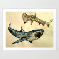 sharks Art Prints featuring Sharks by Jen Hallbrown