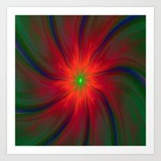 Green Eyed Swirl on Red Art Print