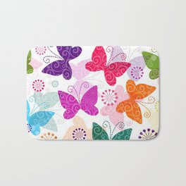 Colorful Butterflies and Flowers V1 Bath Mat