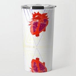 Anatomical Hearts and Triangles Pattern Travel Mug