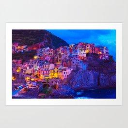Manarola Cinque Terre Italy at Night Art Print