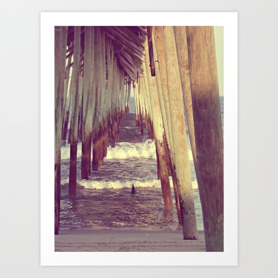 Carolina Beach Pier at Low Tide Art Print