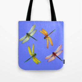 COLORFUL DRAGONFLIES IN BLUE SKY  DESIGN Tote Bag