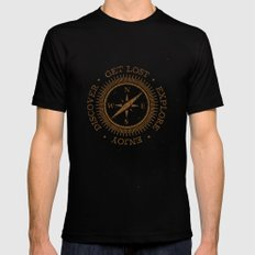 GET LOST EXPLORE DISCOVER ENJOY  MEDIUM Black Mens Fitted Tee