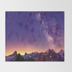 Sunset Mountain #stars Throw Blanket