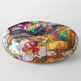 A Laptop Eating Multicolored Kittens Floor Pillow