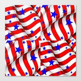 RED PATRIOTIC JULY 4TH BLUE STARS ART Canvas Print