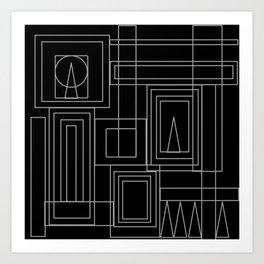 Minimalist Art Deco Black & Grey Art Print