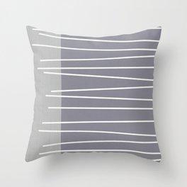 Mid century modern textured gray stripes Throw Pillow