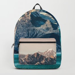 Scenic Alaskan nature landscape wilderness at sunset. Melting glacier caps. Backpack
