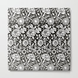 "William Morris Floral Pattern | ""Pink and Rose"" in Black and White Metal Print"