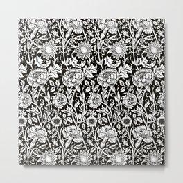"William Morris Floral Pattern | ""Pink and Rose"" in Black and White | Vintage Flower Patterns | Metal Print"