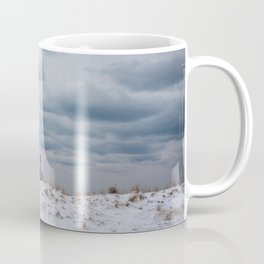 moody clouds above an observation deck by the beach in the winter Coffee Mug