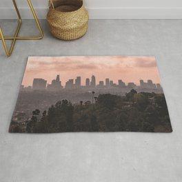 Los Angeles Skyline Sunset Rug