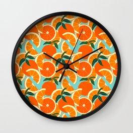 Orange Harvest - Blue Wall Clock