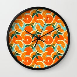 Orange Harvest - Blue Wall Clock