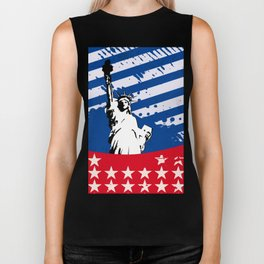 USA Flag - American Flag - Statue of Liberty - 4th July Biker Tank