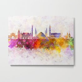 Istanbul skyline in watercolor background Metal Print